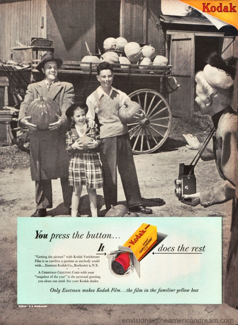 Vintage Kodak Ad 1948 BW Family Pumpkin picking