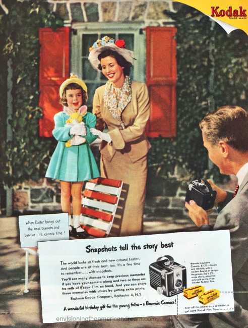 Easter Memories. Vintage Kodak camera ad 1950 Family posing for pictures