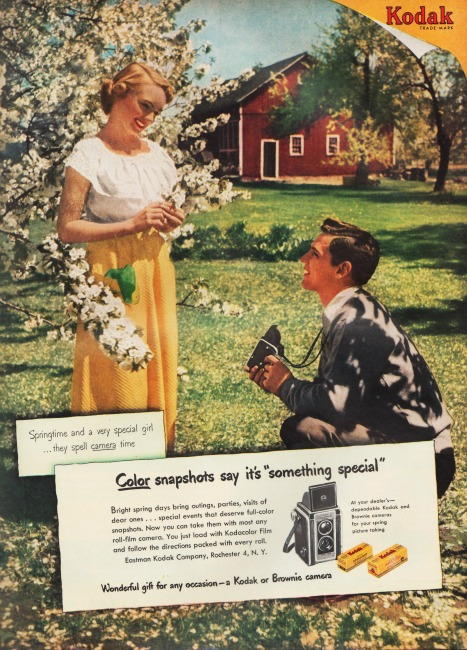 Vintage Kodak Camera ad 1951 Man and woman in spring