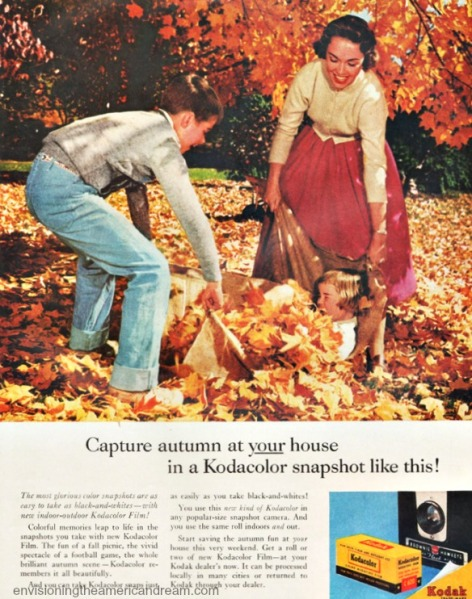 1950s family playng in leaves. Vintage Kodak camera ad