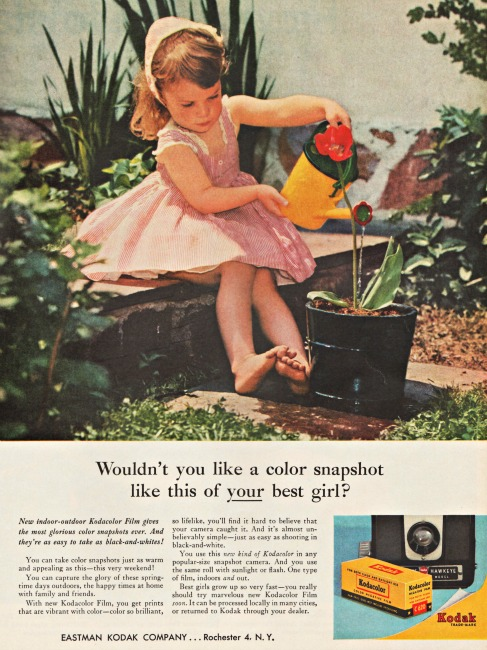 Little girl watering plant Vintage Kodak ad 1950s