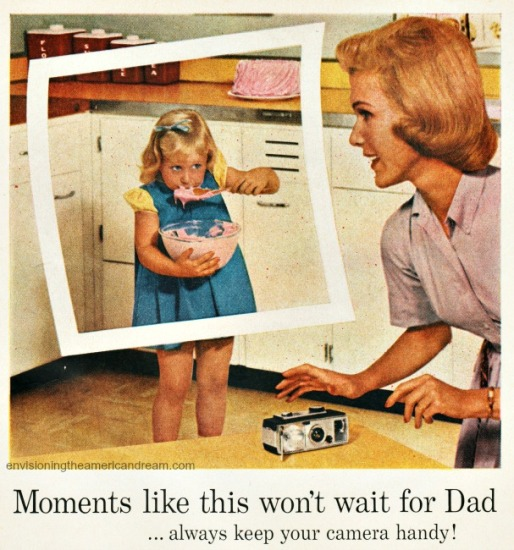 Vintage camera ad mother and daughter in kitchen 1950s