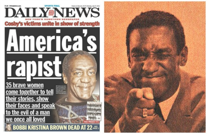 Cosby Americas rapist Daily News Headline and Bill Cosby 60s