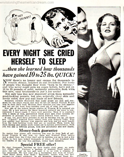Vintage ad 1937 Gain Weight Don't Be Skinny Ironized Yeast