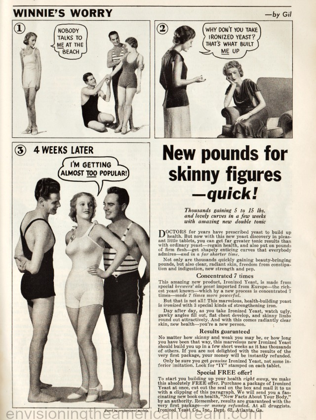 vintage ad Diet Gain Weight Add Pounds 1935