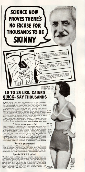 Vintage ad Gain weight ironized yeast 1930s