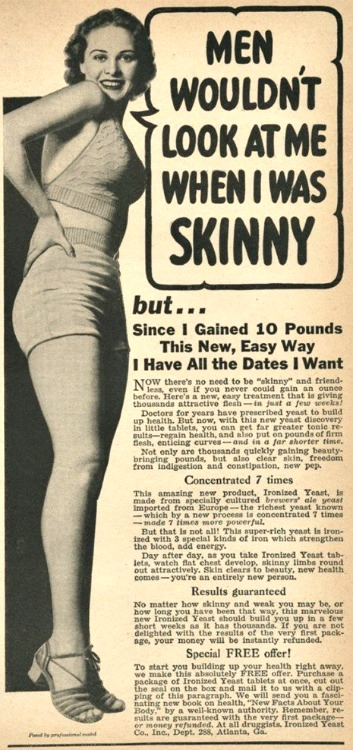 vintage ad gain weight for skinny women