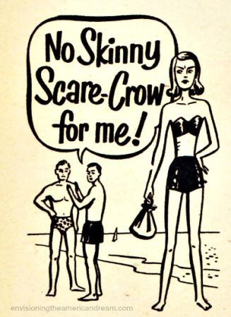 vintage illustration No skinny scare crow for me Body shaming