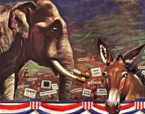 Vintage illustration GOP elephant and Democratic Donkey