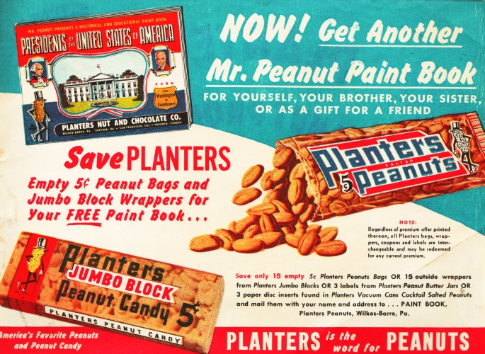 Vintage Mr Peanut paint Book ad