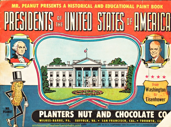 vintage mr peanut coloring book of presidents of usa 1950s