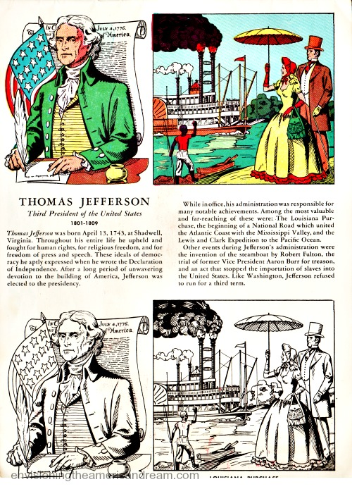 Vintage illustration Thomas Jefferson from coloring book