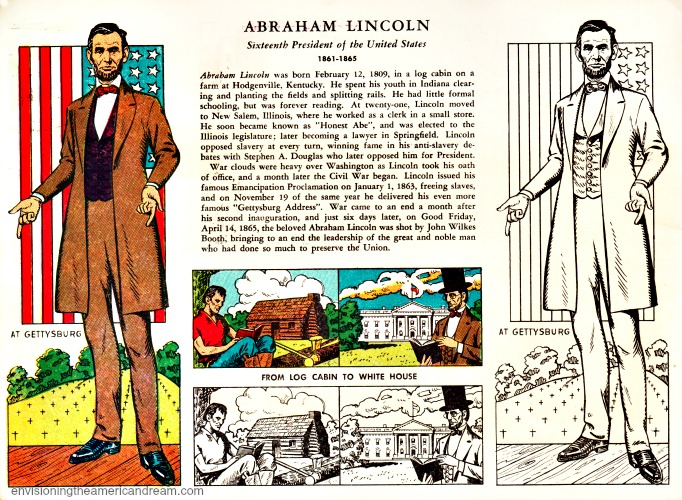 Abrahma Lincoln illustration vintage coloring book