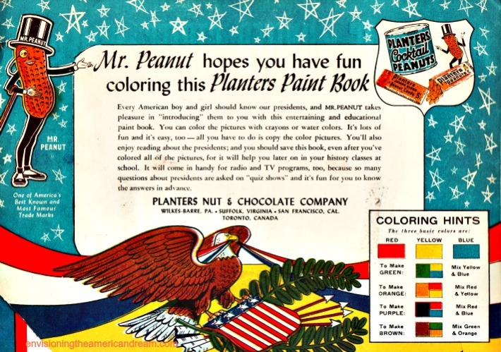 vintage Mr. Peanut American President Paint Book introduction 1950s
