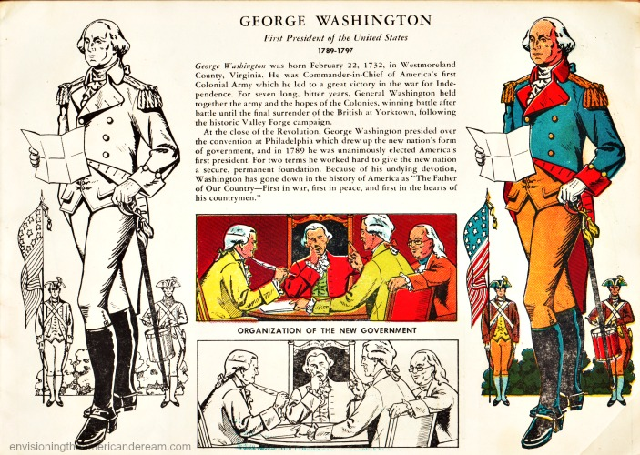 Vintage illustration George washington childrens coloring book