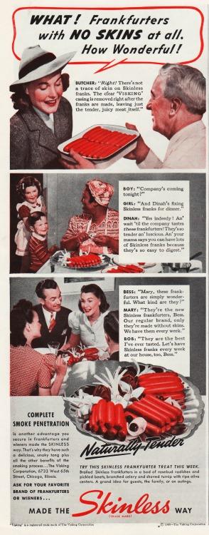 Vintage ad Skinless Frankfurters 1940