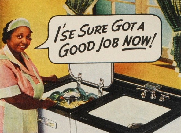 Vintage racist ad 1947 Black Maid at sink