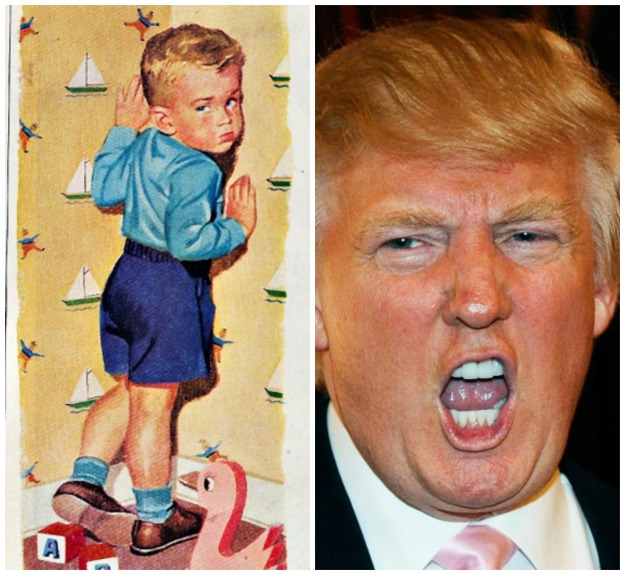 vintage illustration boy standing in a corner and Donald Trump