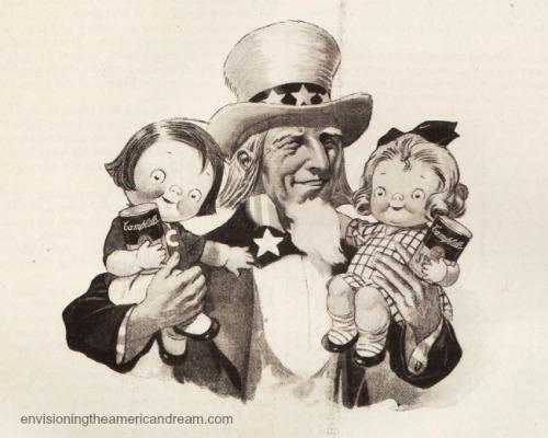 Vintage illustration Uncle Sam and the Campbell Soup kids