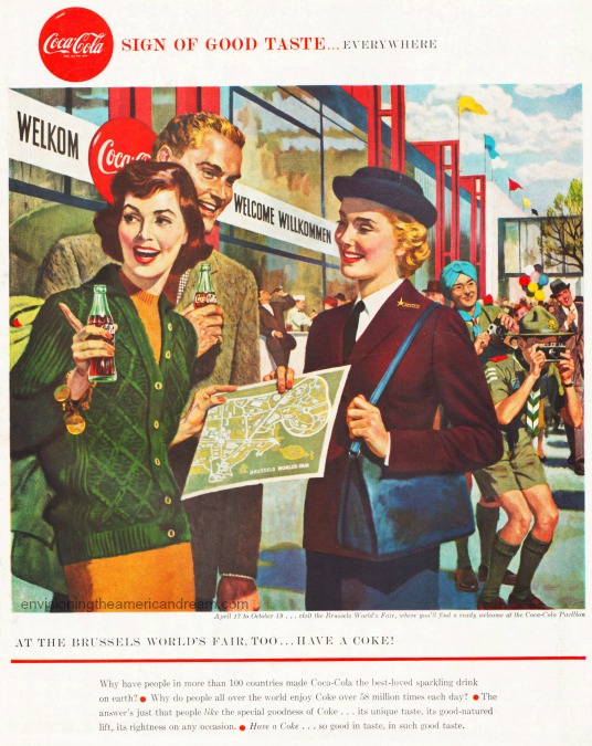 Vintage Coca Cola Ad 1958 Brussels Worlds Fair illustration of fair goers