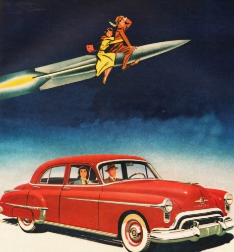 vintage ad Oldsmobile illustration car and couple on