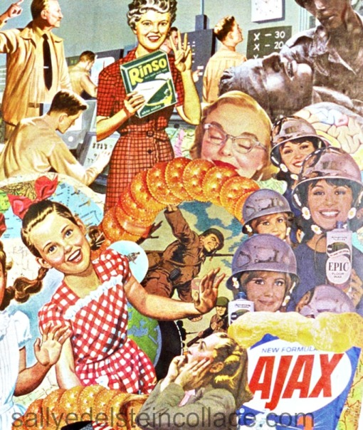 "collage of appropriated vintage images Detail ""White Wash"" by Sally Edelstein"
