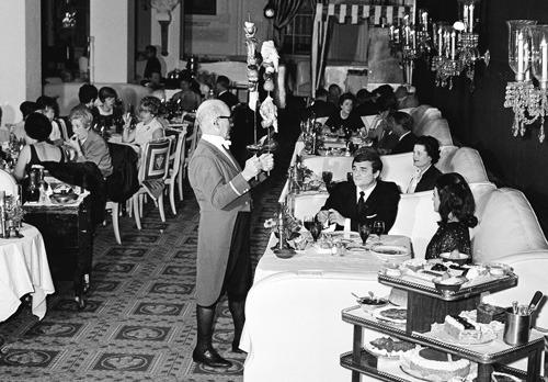 vintage restaurant waiter flambee shish kebob