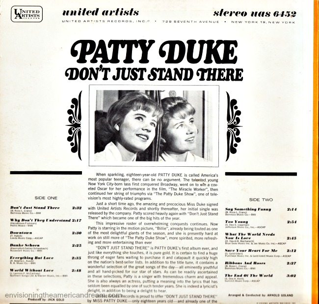 Patty Duke Don't Just Stand There Album Cover Liner