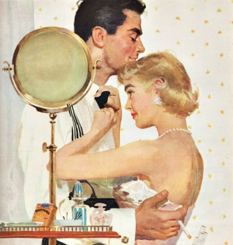 vintage illustration man and woman getting dressed