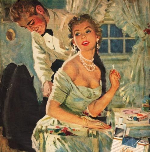 vintage illustration 1950s husband helping wife get dressed