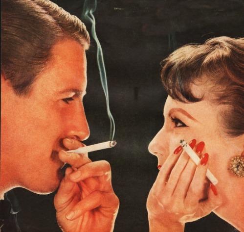 vintage couple smoking cigarettes