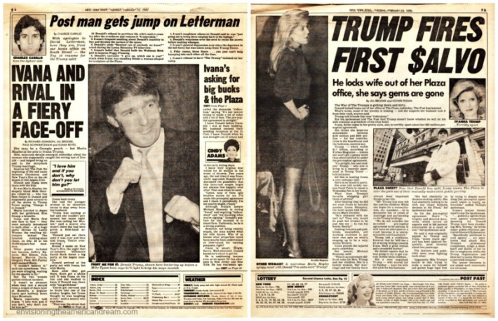 newspaper article 1990 NY Post Donald and Ivana Trump divorce