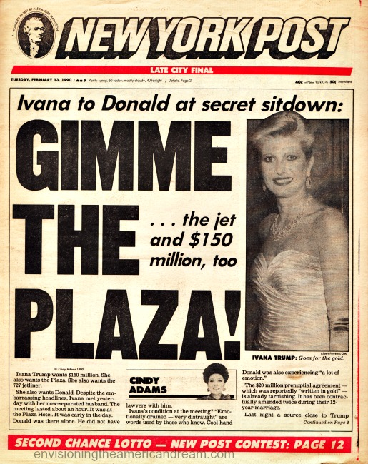 NY Post Headlne Donald and Ivan Trump Divorce 1990