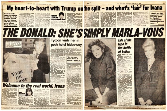 newspaper article 1990 Donald Trump and Marla Maples