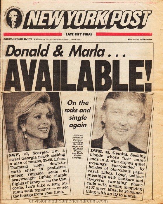 Vintage newspaper 1991 NY Post Donald Trump Marla On the Rocks