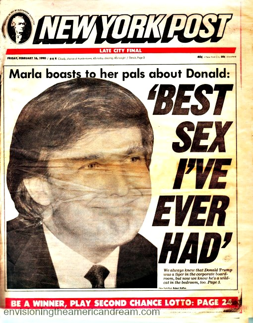 NY Post Headline 1990 Trump -Best Sex I Ever Had