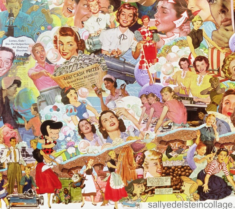 "Detail ""White Wash"" collage by Sally Edelstein appropriated vintage images"