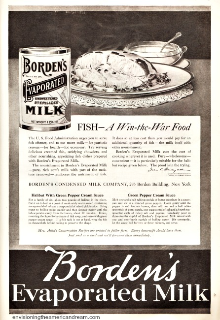 WWI Food Conservation ad Bordens Evaporated Milk