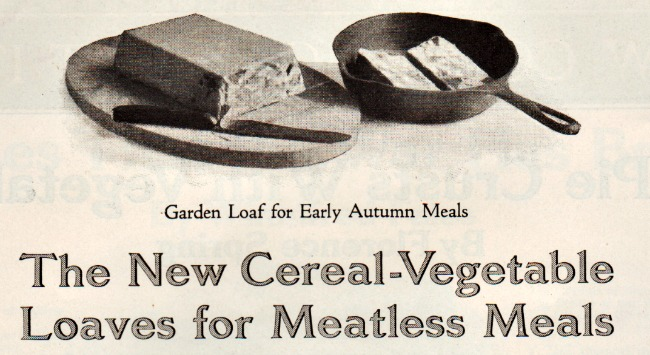 WWI Food Conservation meatless meals