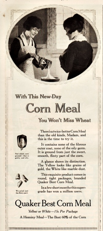 WWI Food Conservation vintage ad Quacker corn meal