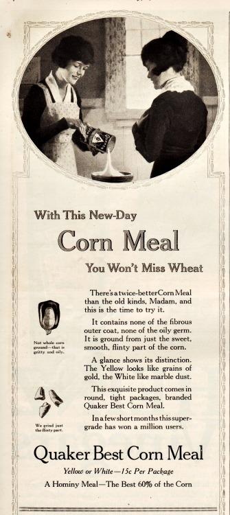 WWI Food Conservation vintage ad Quacker corn meal