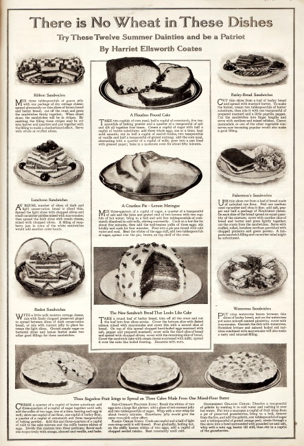 WWI Food Conservation Wheatless recipes