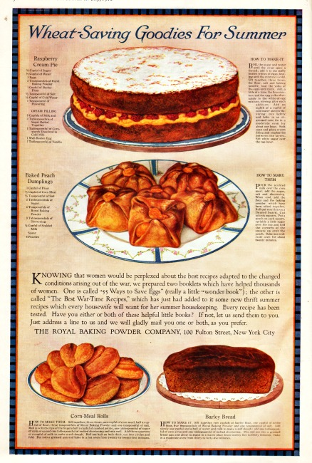 WWI Food Convservation ad wheatless meals