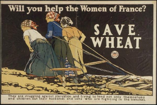 WWI Save Wheat Help Women France 3 women pulling a plow over rocky terrain