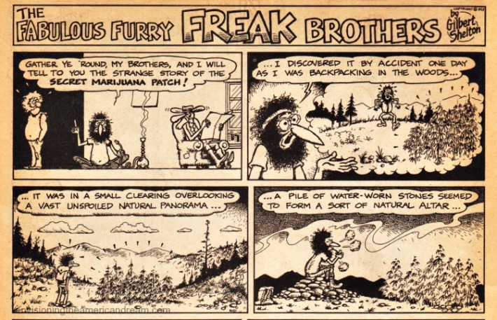 "Vintage comic ""The Fabulous Furry Freak Brothers"" 1972 secret marijuana patch"