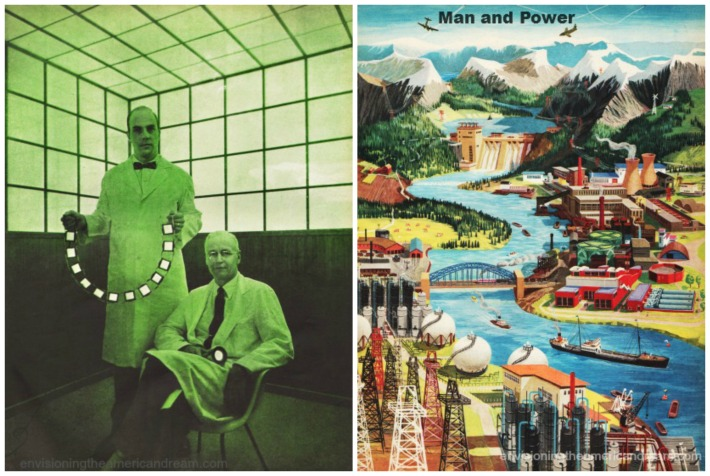 collage energy greenhouse gas man and power