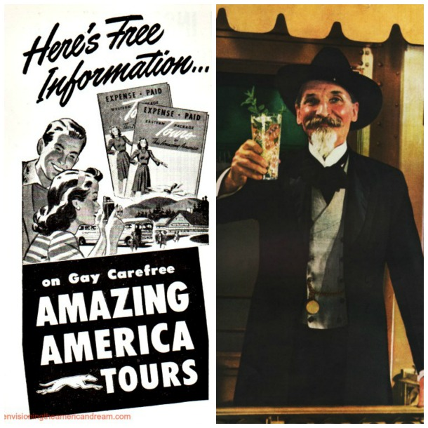 collage vintage travel ad Gay , carefree tours and southern gentlemen