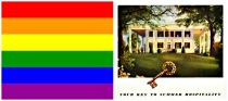 collage LGBT Flag and southern plantation