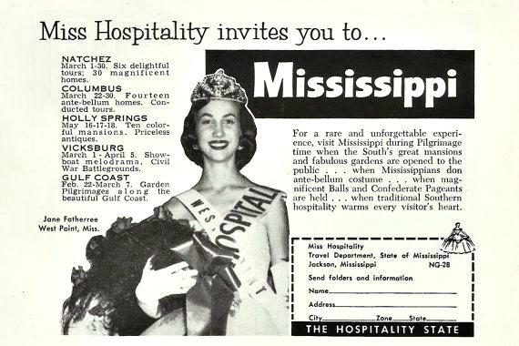 Mississippi Miss hospitality vintage ad
