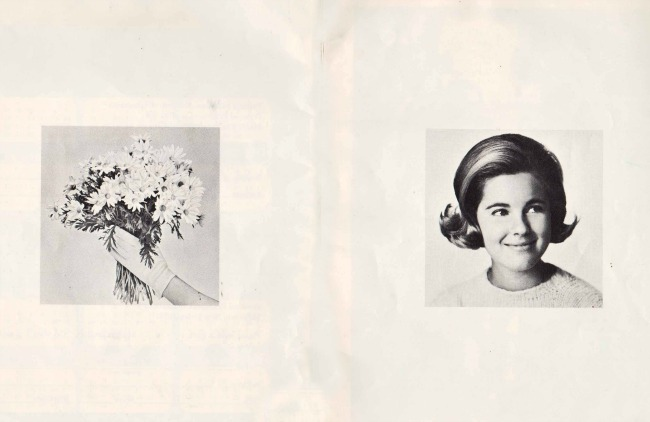 vintage photo of daisys and teenager Modess Booklet about Menstruation